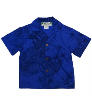 Hawaiian Cotton Boys Aloha Shirt [ Monstera Plumeria ] Royal Blue