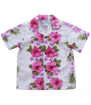 Hawaiian Cotton Boys Aloha Shirt [ Plumeria Panel ] White