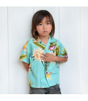 Hawaiian Rayon Boys Aloha Shirt [ Ceres ] Green