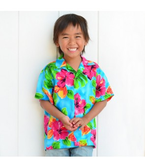 Hawaiian Rayon Boys Aloha Shirt [ Hibiscus Watercolor ] Blue