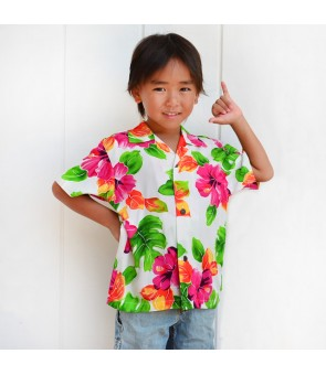 Hawaiian Rayon Boys Aloha Shirt [ Hibiscus Watercolor ] White