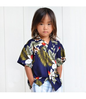 Hawaiian Rayon Boys Aloha Shirt [ Hawaiian Orchid ] Navy