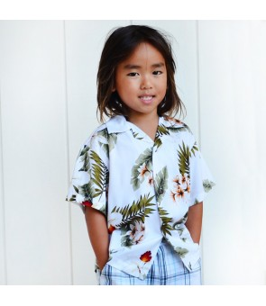 Hawaiian Rayon Boys Aloha Shirt [ Hawaiian Orchid ] White