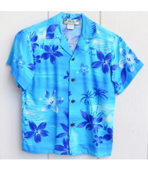 Hawaiian Rayon Boys Aloha Shirt [ Moonlight Scenic ] Blue
