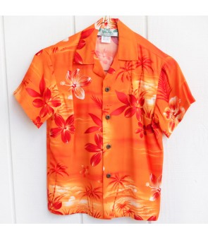 Hawaiian Rayon Boys Aloha Shirt [ Moonlight Scenic ] Orange