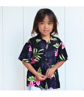 Hawaiian Rayon Boys Aloha Shirt [ Orchid Fern ] Black
