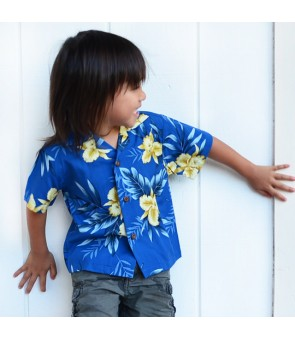 Hawaiian Rayon Boys Aloha Shirt [ Orchid Fern ] Blue