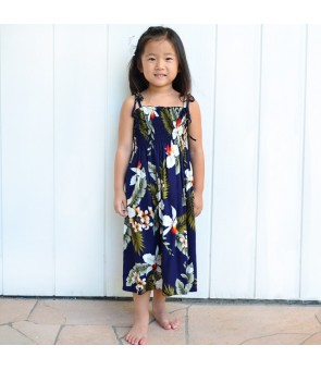 Hawaiian Rayon Girls Tube Top Dress [ Hawaiian Orchid ] Navy