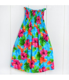 Hawaiian Rayon Girls Tube Top Dress [ Hibiscus Watercolor ] Blue