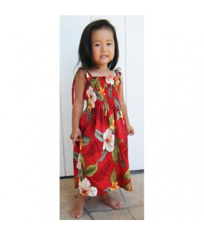 Hawaiian Rayon Girls Tube Top Dress [ Leilani ] Red