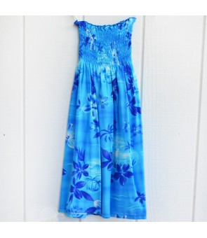 Hawaiian Rayon Girls Tube Top Dress [ Moonlight Scenic ] Blue