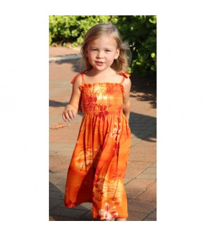 Hawaiian Rayon Girls Tube Top Dress [ Moonlight Scenic ] Orange