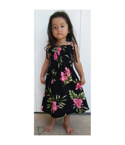 Hawaiian Rayon Girls Tube Top Dress [ Orchid Fern ] Black