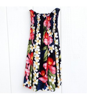 Hawaiian Rayon Girls Tube Top Dress [ Plumeria Orchid Panel ] Navy