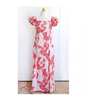 Hawaiian PuaPuaLani Ruffle Long Dress [ Lanai ] Coral