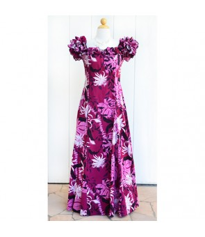 Hawaiian PuaPuaLani Ruffle Long Dress [ Makapu'u ] Purple