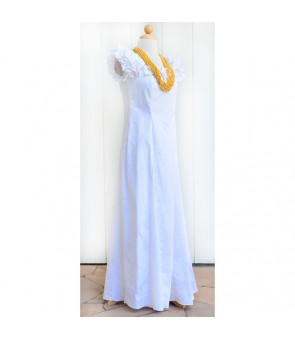 Hawaiian PuaPuaLani Ruffle Long Dress [ Makapu'u ] Wedding White