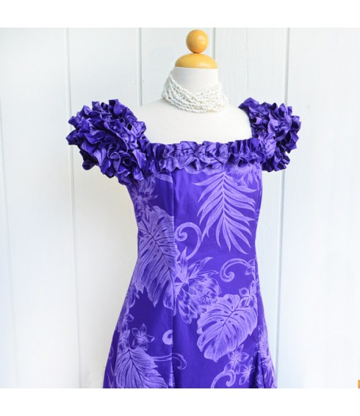 Hawaiian PuaPuaLani Ruffle Long Dress [ Monstera Plumeria ] Purple