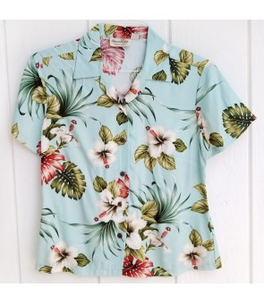 Hawaiian Ladies Rayon Aloha Shirt [ Hibiscus & Monstera ]  Light Blue