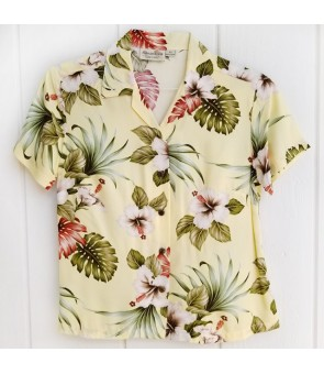 Hawaiian Ladies Rayon Aloha Shirt [ Hibiscus & Monstera ]  Light Yellow
