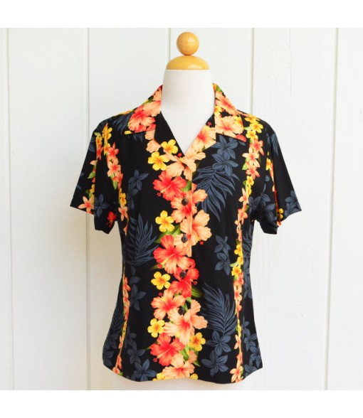 Hawaiian Ladies Rayon Aloha Shirt [ Hibiscus Panel ] Black