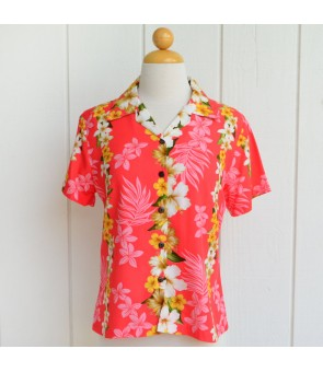 Hawaiian Ladies Rayon Aloha Shirt [ Hibiscus Panel ] Coral