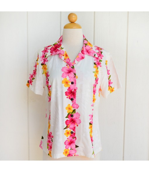 Hawaiian Ladies Rayon Aloha Shirt [ Hibiscus Panel ] White