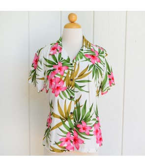 Hawaiian Ladies Rayon Aloha Shirt [ Lani Plumeria ] White