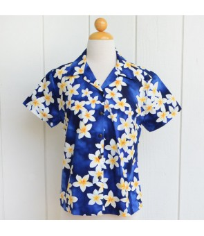 Hawaiian Ladies Cotton Aloha Shirt [ Plumeria ] Blue