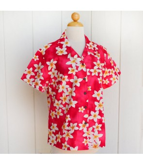 Hawaiian Ladies Cotton Aloha Shirt [ Plumeria ] Pink