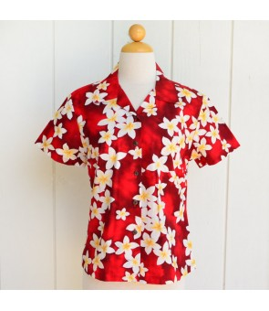 Hawaiian Ladies Cotton Aloha Shirt [ Plumeria ] Red