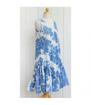 Hawaiian Poly Cotton Semi-Long V-Neck Dress [ Nahenahe Hibiscus ] Blue
