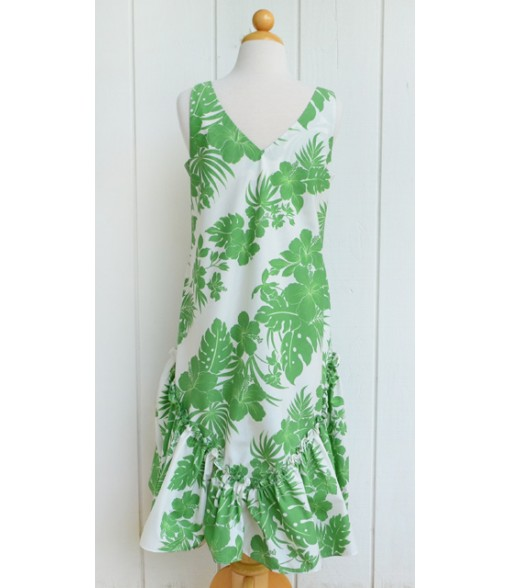 Hawaiian Poly Cotton Semi-Long V-Neck Dress [ Nahenahe Hibiscus ] Green