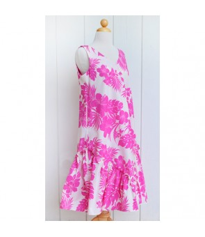 Hawaiian Poly Cotton Semi-Long V-Neck Dress [ Nahenahe Hibiscus ] Pink