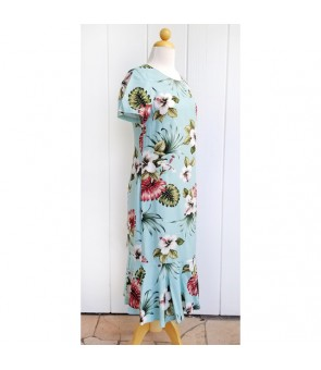 Hawaiian Rayon Sleeve Semi-Long Amber Dress [ Hibiscus & Monstera ] Light Blue