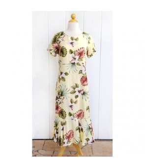 Hawaiian Rayon Sleeve Semi-Long Amber Dress [ Hibiscus & Monstera ] Light Yellow