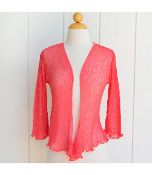 Ladies Outerwear [ Tropical Mesh Cardigan ] Coral