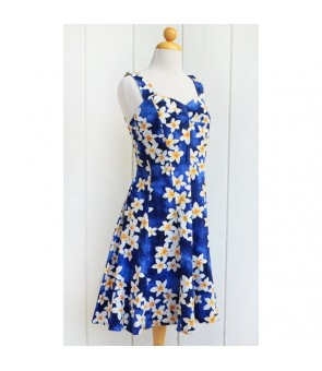 Hawaiian Cotton Mini Sundress [ Plumeria ] Blue