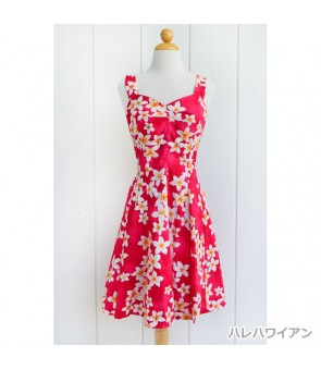 Hawaiian Cotton Mini Sundress [ Plumeria ] Pink