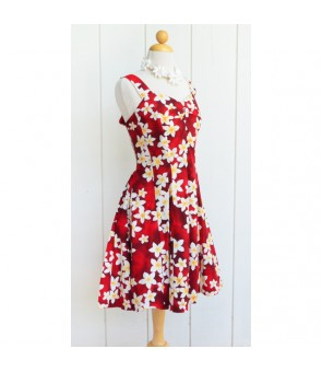 Hawaiian Cotton Mini Sundress [ Plumeria ] Red