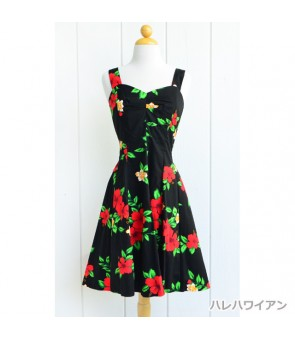 Hawaiian Cotton Mini Sundress [ Red Hibiscus ] Black