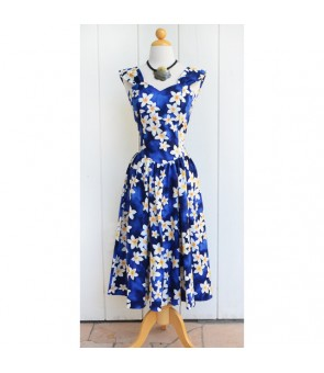 Hawaiian Cotton Sundress [ Plumeria ] Blue