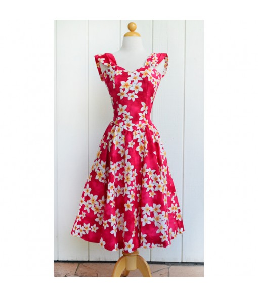 Hawaiian Cotton Sundress [ Plumeria ] Pink