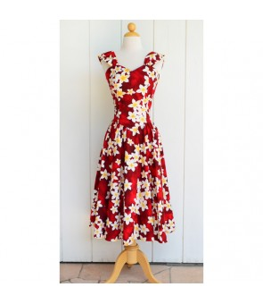Hawaiian Cotton Sundress [ Plumeria ] Red