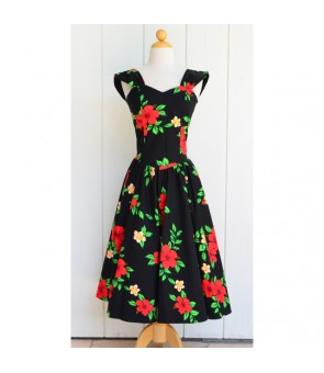 Hawaiian Cotton Sundress [ Red Hibiscus ] Black