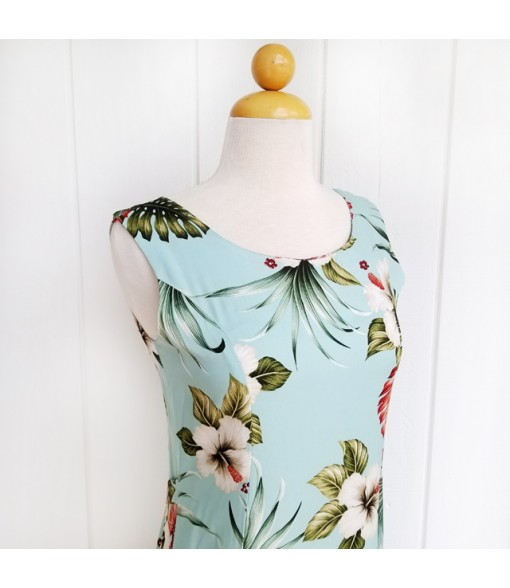 Hawaiian Rayon Sleeveless Long Dress [ Hibiscus & Monstera ] Light Blue