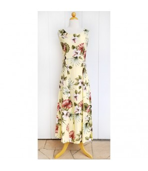 Hawaiian Rayon Sleeveless Long Dress [ Hibiscus & Monstera ] Light Yellow
