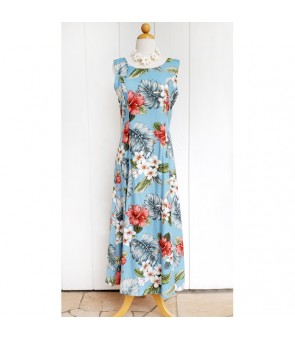 Hawaiian Rayon Sleeveless Long Dress [ Hibiscus & Plumeria ] Aqua Blue
