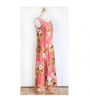 Hawaiian Rayon Sleeveless Long Dress [ Lani Plumeria ] Coral