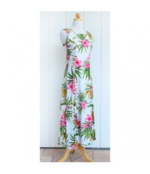 Hawaiian Rayon Sleeveless Long Dress [ Lani Plumeria ] White